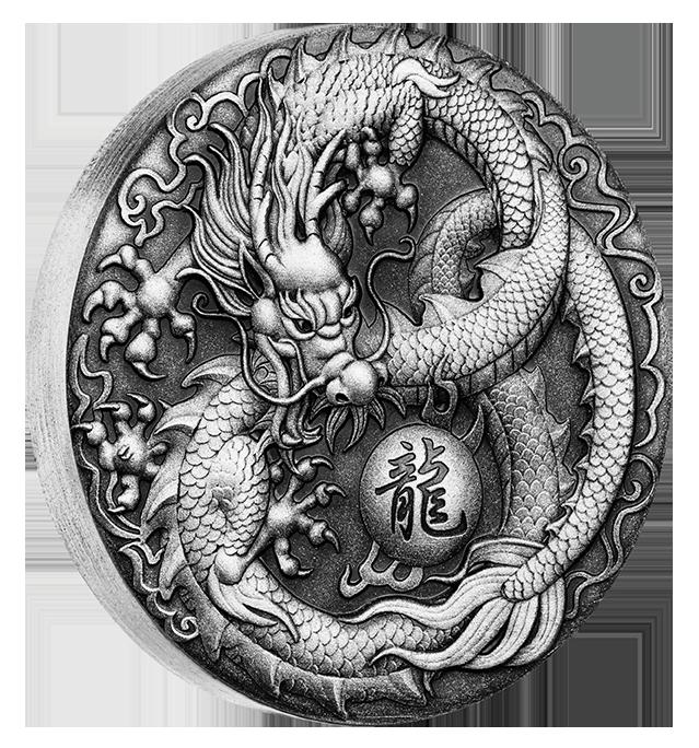 Coins Australia Dragon 2017 2oz Silver Antiqued High