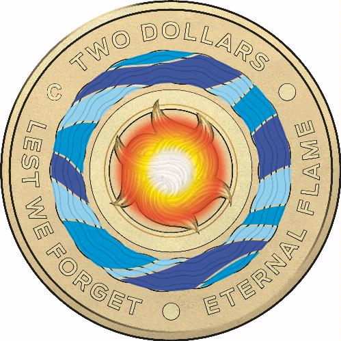 Coins Australia 2018 Lest We Forget 2 Coloured Circulating Rolled Coin 25 Coins Per Roll