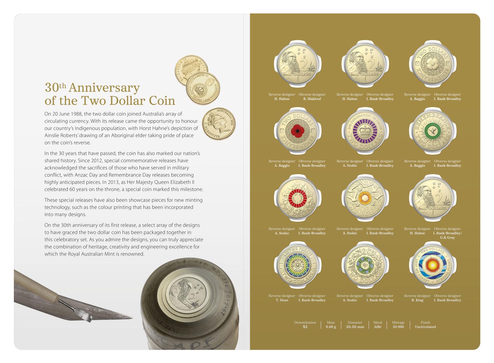 Coins Australia 2018 2 Twelve Coin Coloured Set 30th