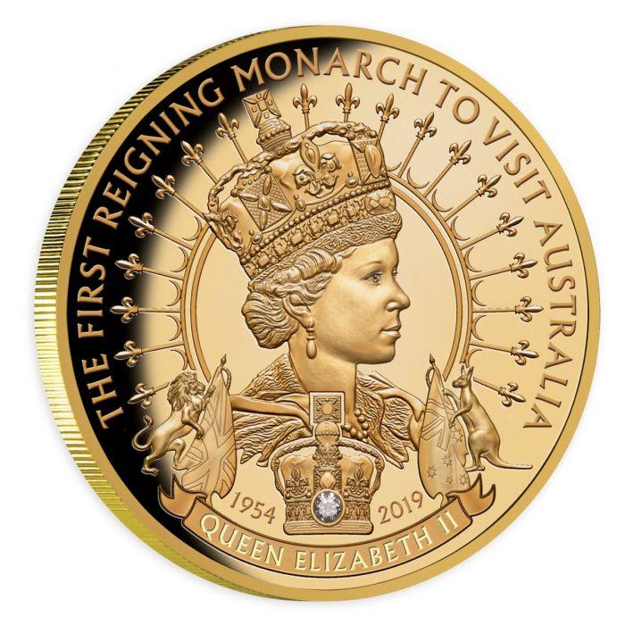 Coins Australia 2019 Queen Elizabeth Ii First Reigning Monarch To Visit Australia 100 Diamond