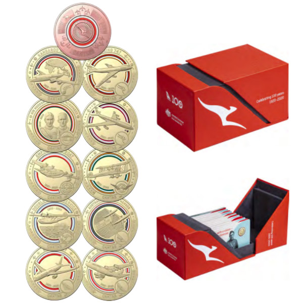 Coins Australia - 2020 Qantas Centenary Coin Set $1 Coloured Uncirculated Coin