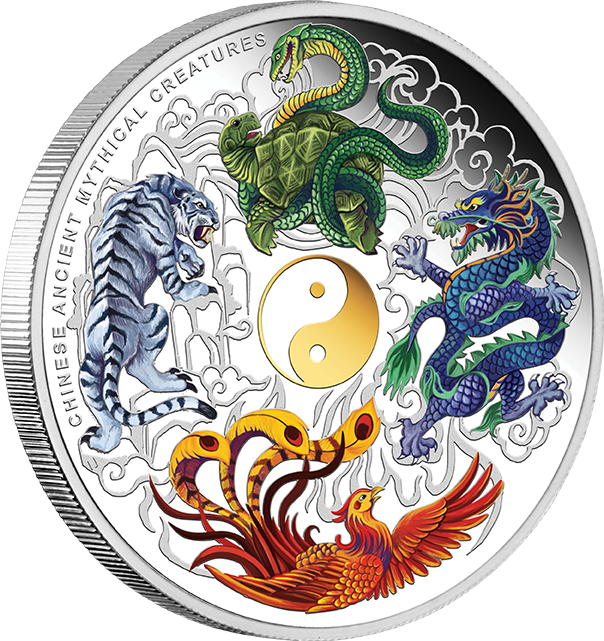 coins australia 2014 chinese ancient mythical creatures 5oz silver proof coloured coin. Black Bedroom Furniture Sets. Home Design Ideas