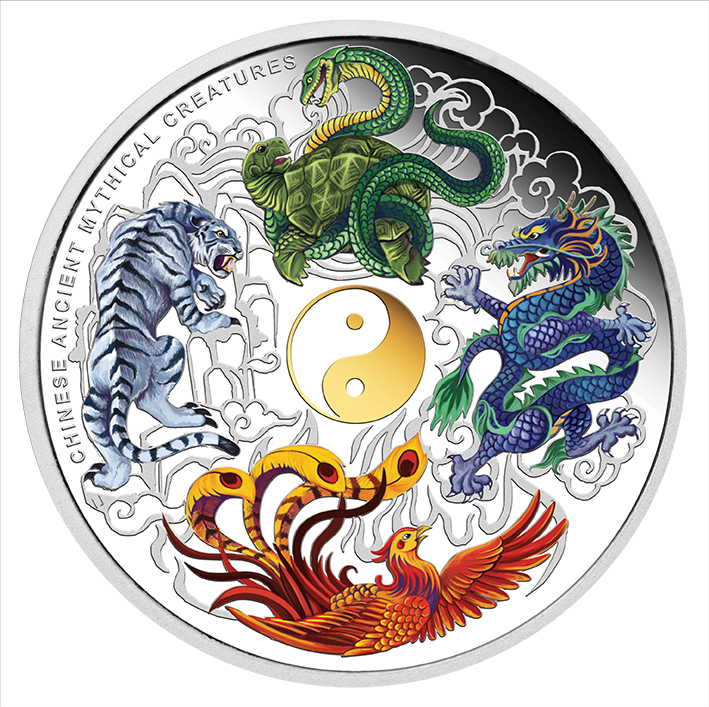 2014 chinese ancient mythical creatures 5oz silver proof coloured coin