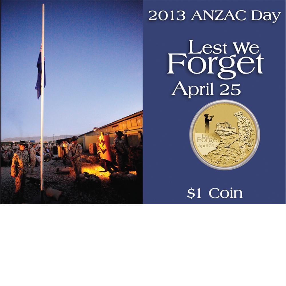 Coins Australia 2013 Anzac Day 1 Coin In Card