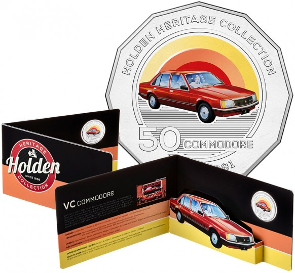 2016 50c Holden 1980-81 VC Commodore Coloured UNC Coin