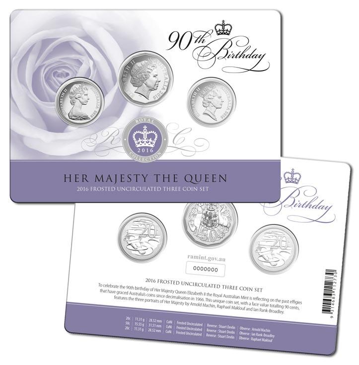 Coins Australia - 2016 Queen Elizabeth II 90th Birthday 3-Coin Set