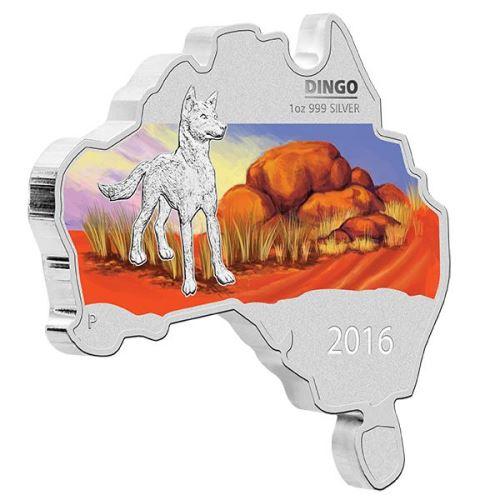Australia Map 785.Coins Australia 2016 Australian Map Shaped Coin Dingo 1oz Silver