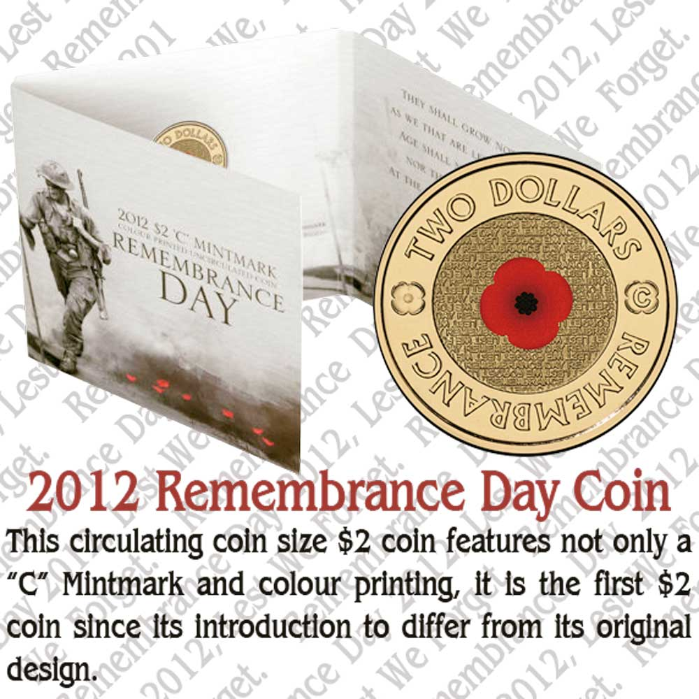 Coins Australia 2012 Remembrance Day 2 Colour Printed