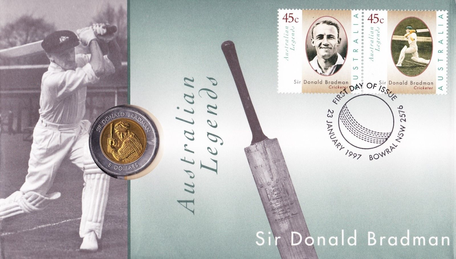 PNC Australia 1997 Australian Legends Sir Donald Bradman RAM $5 Coin Cricket